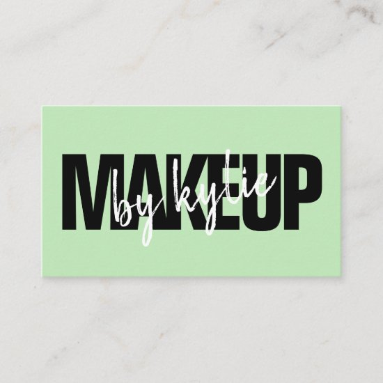 Makeup artist bold signature script pastel green business card