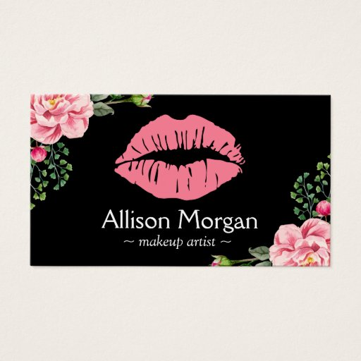 Makeup Artist Pink Lips Vintage Floral Decor Business Card