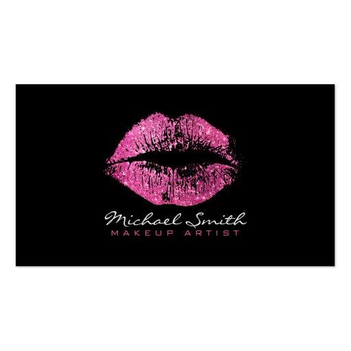 Makeup Artist Stylish Pink Glitter Lips Business Card