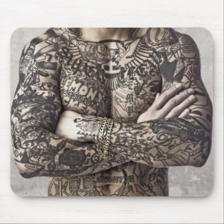 Male Body Tattoo Photograph Mouse Pads