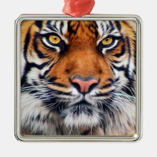 Male Siberian Tiger Christmas Tree Ornament