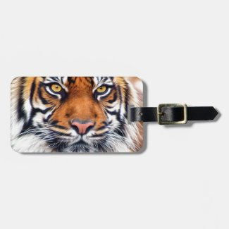 Male Siberian Tiger Paint Photograph Bag Tag