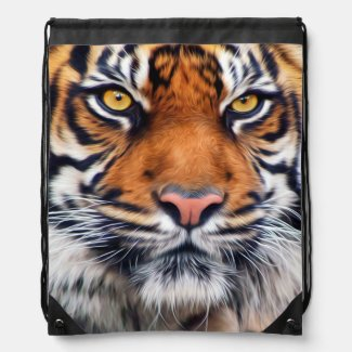 Male Siberian Tiger Paint Photograph Cinch Bags