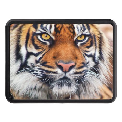 Male Siberian Tiger Paint Photograph Hitch Cover