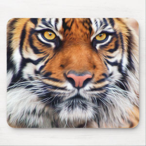 Male Siberian Tiger Paint Photograph Mouse Pad