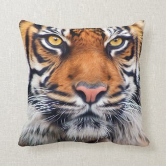 Male Siberian Tiger Paint Photograph Throw Pillow