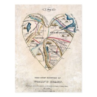 Map of a Womans Heart Post Cards