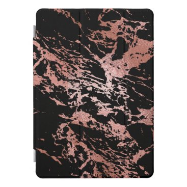 Marble Black Stone Copper Rose Abstract Metallic iPad Pro Cover