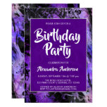 Marble Purple Space Galaxy with Stars Birthday Invitation