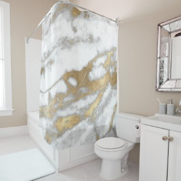 Marble Stone Abstract White Gray Silver Gold Carra Shower Curtain