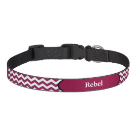 Maroon Chevron Black Trim Personalized Dog Collars
