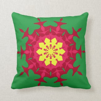 Maroon green mandala pillow