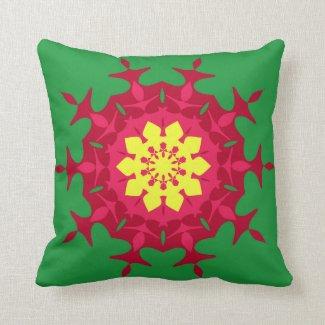 Maroon green mandala pillow