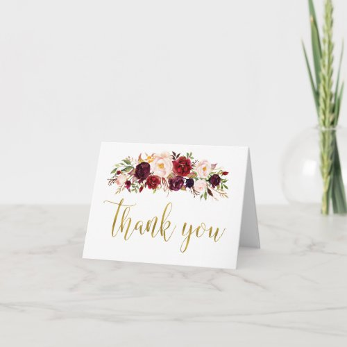 Marsala Floral Gold Autumn Wedding Thank You Card