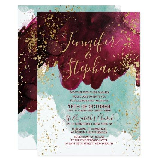 Marsala Red Teal Watercolor Gold Splash Wedding Invitation