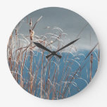 Marsh grass by the edge of a pond clock