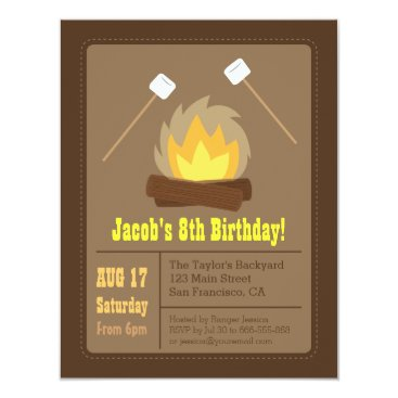 Marshmallows Bonfire Birthday Party Invitations