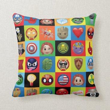 Marvel Emoji Characters Grid Pattern Throw Pillow