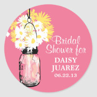 Mason Jar and White Daisies Bridal Shower Classic Round Sticker