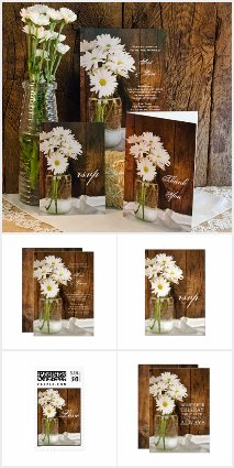 Mason Jar and White Daisies Wedding Stationery