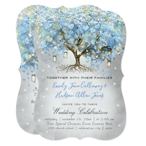 Mason Jar Blue Silver Heart Leaf Tree Fairy Lights Invitation