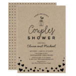 Mason Jar, Chic Kraft Black Couples Wedding Shower Invitation