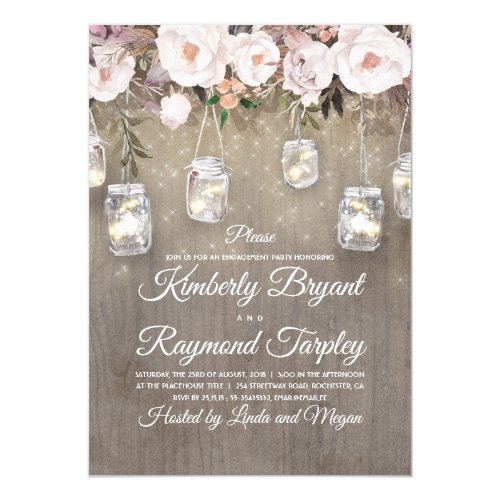 Mason Jar Lights Floral Rustic Engagement Party Invitation