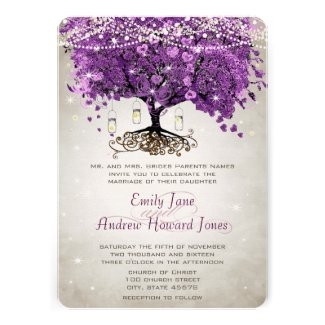Mason Jar Radiant Orchid Heart Leaf Tree Wedding Personalized Announcement