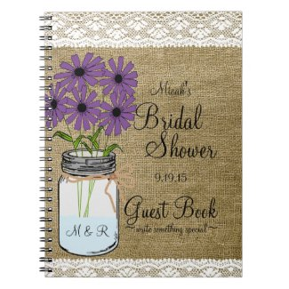 Mason Jar Rustic Country-Bridal Shower Guest Book- Spiral Notebooks