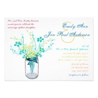 Mason Jar Wild Flower Wedding Invitations