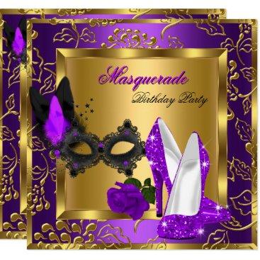 Masquerade Gold Purple Black Glitter High Heels Card