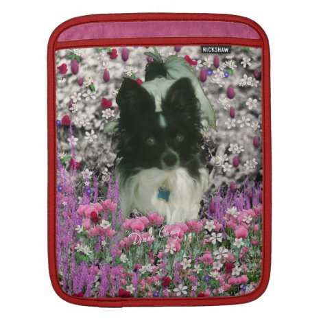 Matisse in Flowers - White & Black Papillon Dog iPad Sleeve