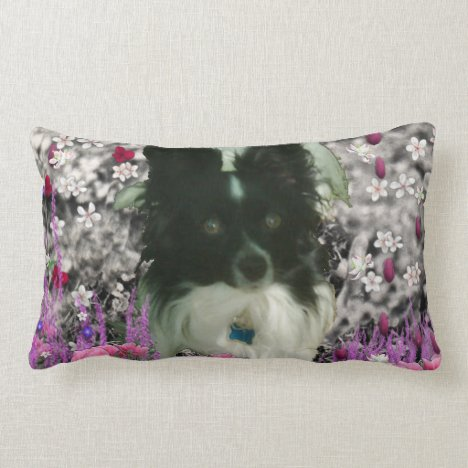 Matisse in Flowers - White & Black Papillon Dog Lumbar Pillow