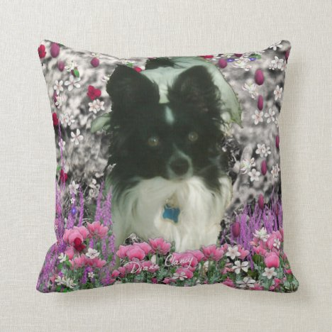 Matisse in Flowers - White & Black Papillon Dog Throw Pillow