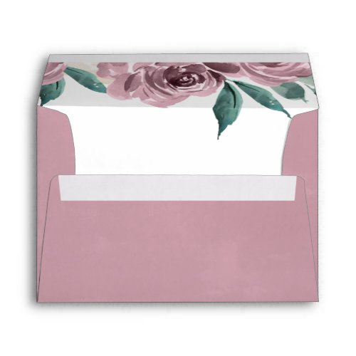 Mauve Watercolor Roses Floral Return Address A7 Envelope