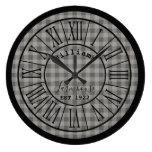Medium Gray/Grey Buffalo Check Farmhouse Name Large Clock