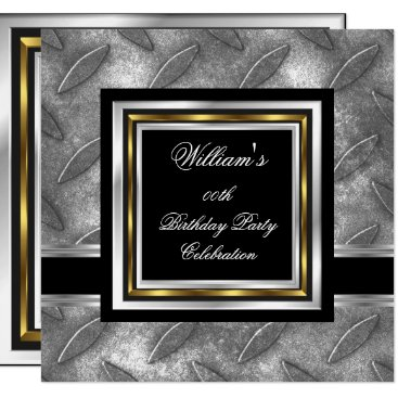 Men's Elegant Black Gold Silver Birthday Metal Invitation