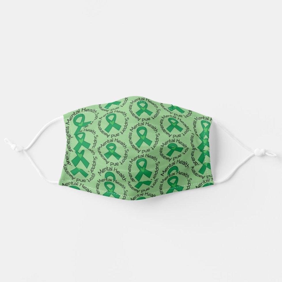 Mental Health Awareness Support Ribbon Cloth Face Mask
