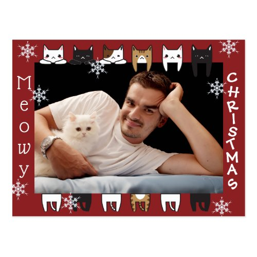 Meowy Christmas Add Photo Holiday Postcard