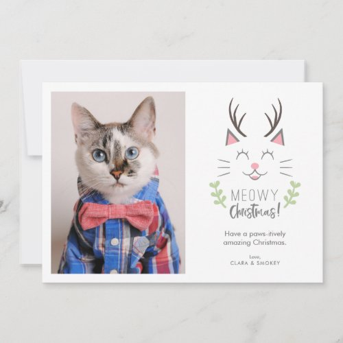 Meowy Christmas | Cat Lovers Pet Photo Holiday Card