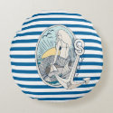 Mermaid and Anchor Blue and White Stripe Pillow