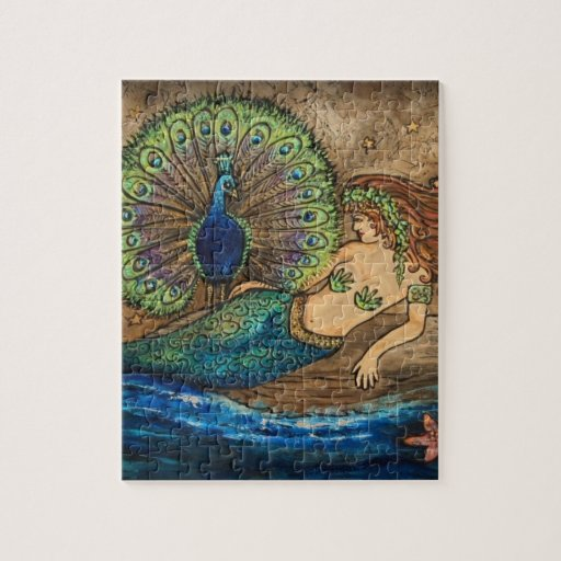Mermaid And Peacock Jigsaw Puzzle Zazzle