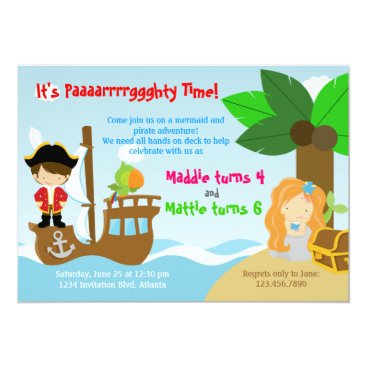 Mermaid and Pirate Twins Joint Birthday Party Card