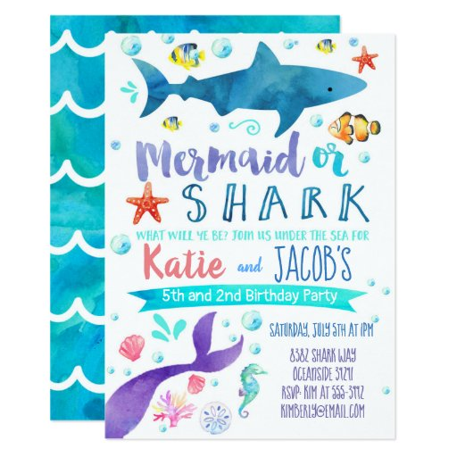 Mermaid and Shark Invitation Birthday Party Sea