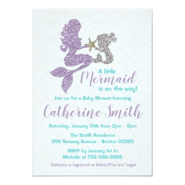 Mermaid Baby Shower Invitation Lavender and Teal