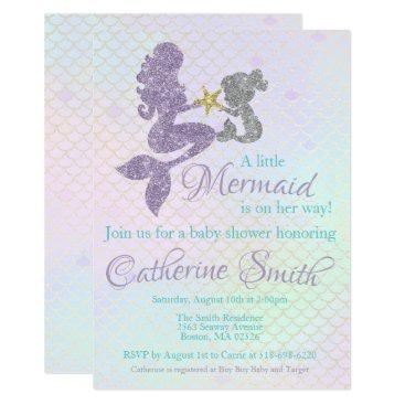 Mermaid baby Shower invitation Lavender Gold Teal