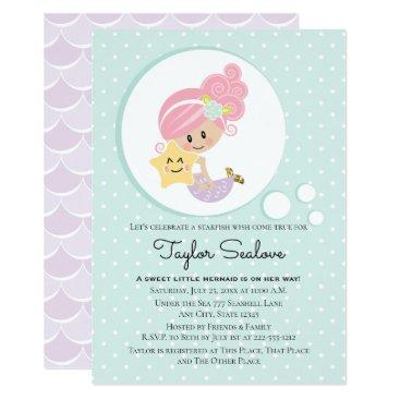 Mermaid Baby Shower Light Skin Tone Card