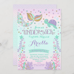 mermaid birthday invitations zazzle