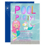 Mermaid Unicorn POOL Party Pink Glitter Girls Invitation