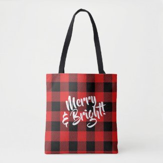 Merry and Bright Red and Black Plaid Tote Bag